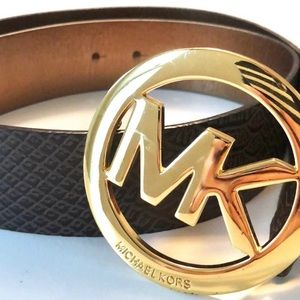 Michael Kors Faux Leather Gold Logo Belt - Size S